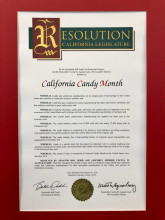 The California Legislature Issued A Resolution Recognizing The Economic And Cultural Contributions Of The Confectionery Industry At The Conclusion Of National Candy Month.