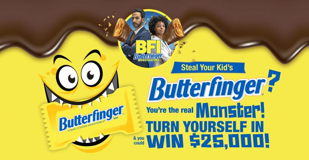"""New campaign launches with a Halloween promotion encouraging Butterfinger thieves (aka parents) to turn themselves in to the """"BFI"""" for a cash reward"""